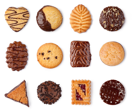 Cookies collection on a white background photo
