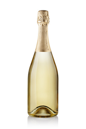 champagnefles. geïsoleerd op witte achtergrond Stockfoto