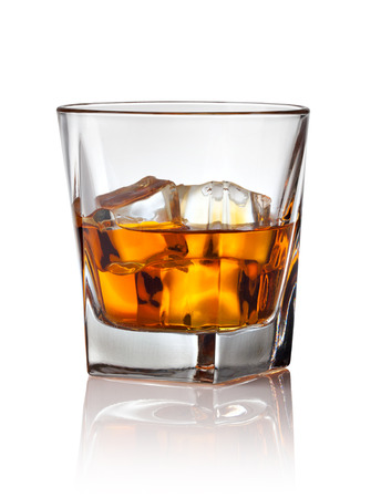 whisky glass: Glass of scotch whiskey and ice on a white background Stock Photo