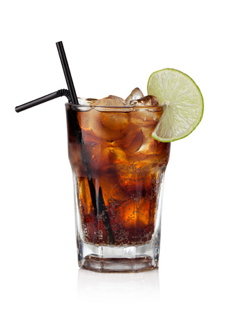 tipple: Cuba Libre Drink with lime on a white background