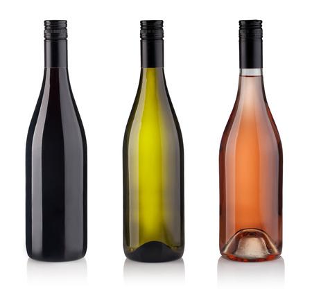 ローズ、白、赤ワインのボトルのセットです。白い背景に分離