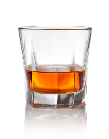 whiskey glass: Glass of scotch whiskey on a white Stock Photo