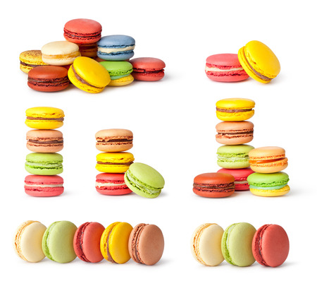 Tasty colorful macaroon on a white background Imagens