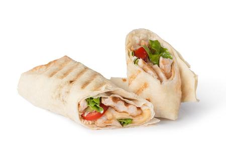 Fajitas mit Huhn wrap sandwich Standard-Bild - 31727074