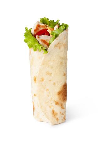 Fajitas mit Huhn wrap sandwich Standard-Bild - 31727077