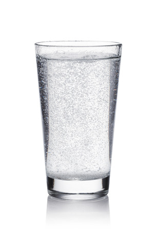 glass of mineral water on white background Imagens