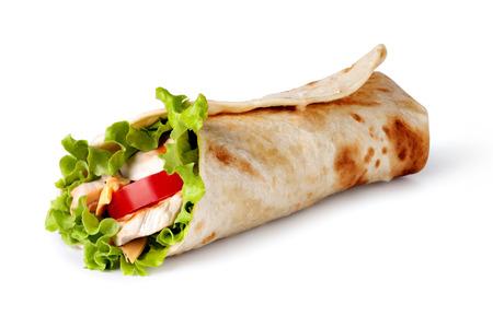 wraps: Chicken s�ndwich de envoltura fajita Foto de archivo