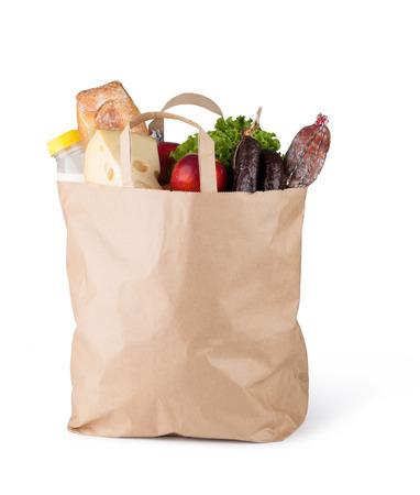 白い背景の上に食べ物が入った紙袋