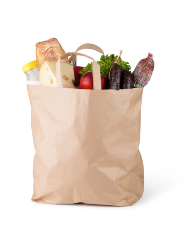 pastry bag: Paper bag with food on a white background