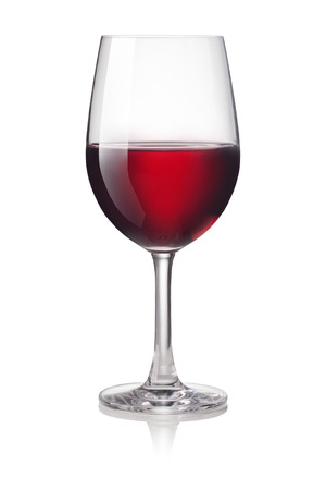 Glass of red wine isolated on a white background Foto de archivo