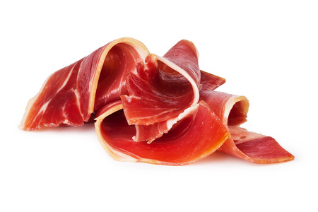 sliced prosciutto on a white background Фото со стока - 32627481