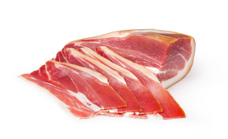 cured ham: sliced prosciutto on a white background