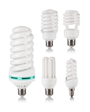 e27: Energy saving fluorescent light bulb isolated on a white bakground Stock Photo