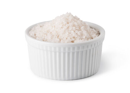 crystal bowl: Sea Salt in a white on white background