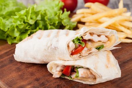 fajita: Chicken fajita wrap sandwich