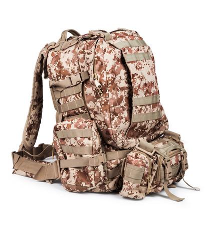 haversack: camouflage backpack isolated on white background Stock Photo