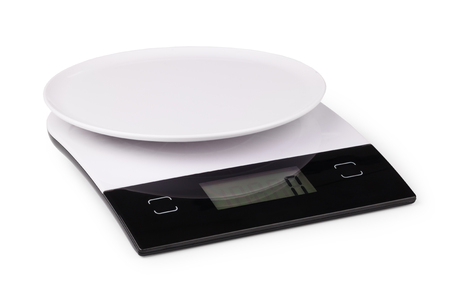 kitchen scale: Digital kitchen scale, isolated on a white background Stock Photo