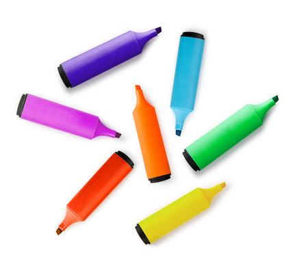 marker pen: Colored markers isolated on white background