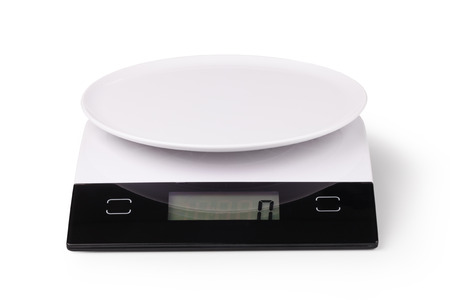 electronic balance: Digital kitchen scale, isolated on a white background Stock Photo