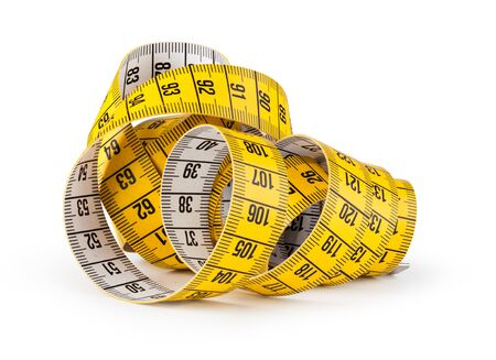 tapeline: Yellow measuring tape isolated on white Stock Photo