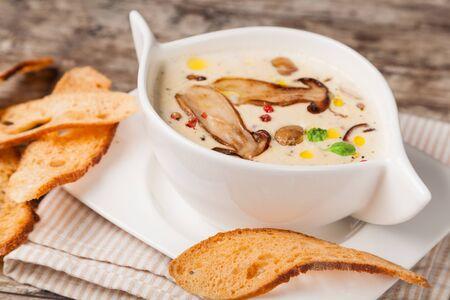 mushroom soup: Bowl of cream of mushroom soup Stock Photo