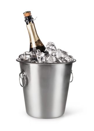 Champagne bottle in a bucket with ice on the white background
