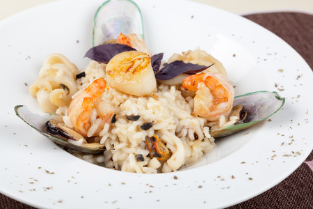 risotto: Risotto, rice with seafood, food closeup Stock Photo