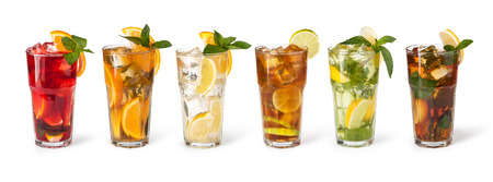punch: set with different cocktails on white background