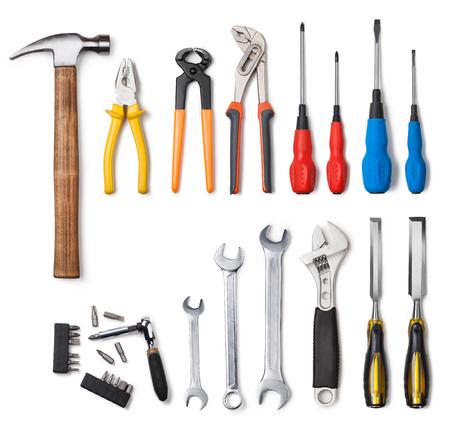herramientas de mecánica: Colección de herramientas aisladas sobre fondo blanco Foto de archivo