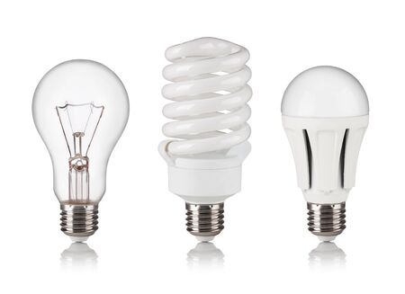 e27: set of different light bulbs isolated on a white bakground