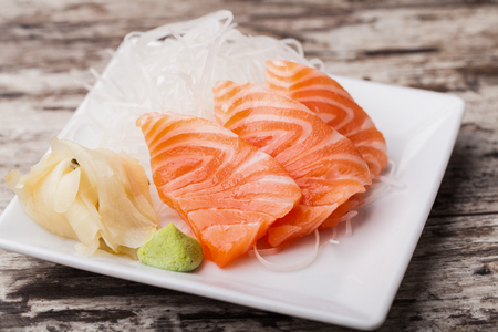 withe: Salmon sashimi with withe plate