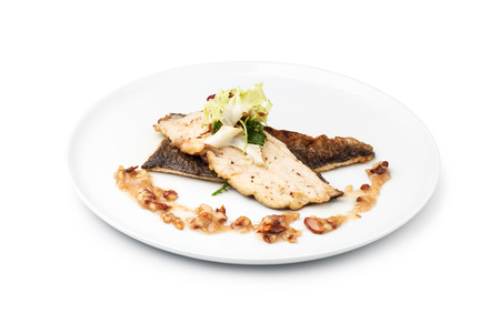 grilled fish: Grilled Fish Fillet on a white plate