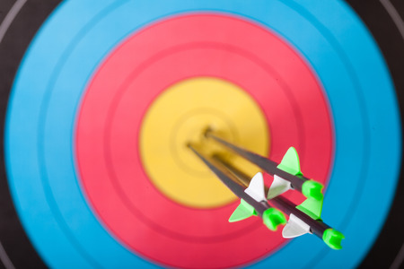 Arrows in archery target Archivio Fotografico