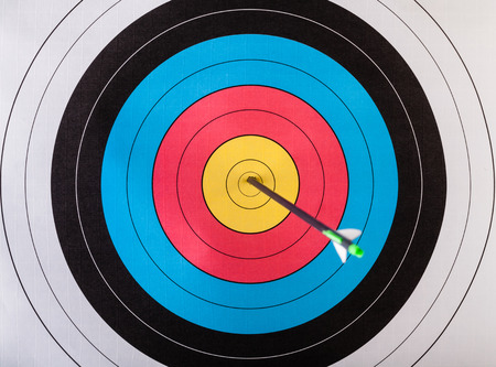 Arrows in archery target Banque d'images