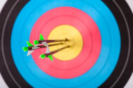 archery: Arrows in archery target Stock Photo