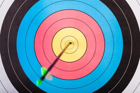target: Arrows in archery target Stock Photo