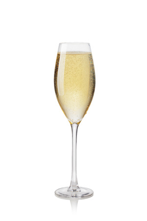 gold flute: Glass of champagne on a white background