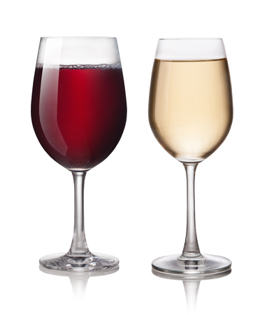 glass of red wine: Glass of red and white wine on a white background Stock Photo