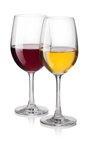 glass of red wine: Glass of red and white wine isolated on a white background