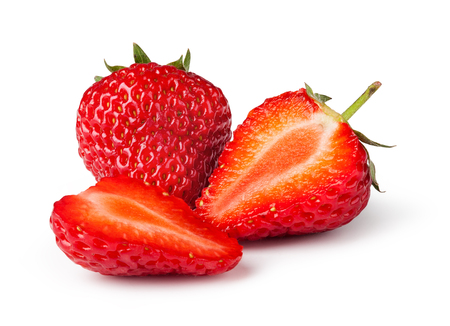 Strawberries. Isolated on a white background. 스톡 콘텐츠