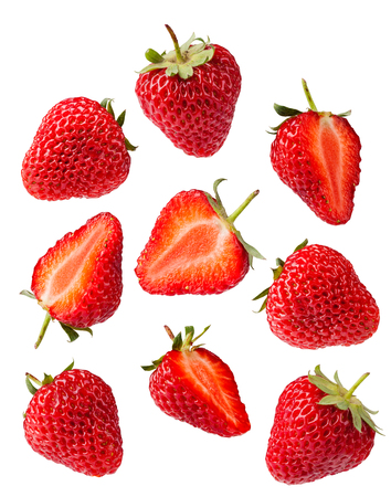 イチゴのセットです。白い背景上に分離。コレクション