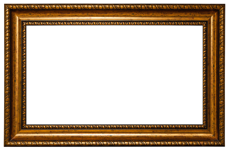 pictures: antique golden frame isolated on white background