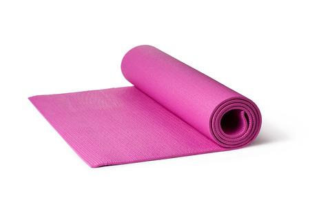 Pink Yoga Mat on a White Background Stockfoto