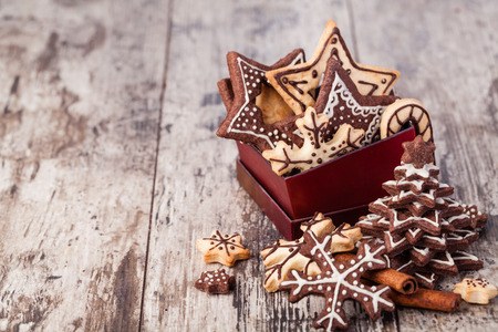 cookies: Homemade christmas cookies on wooden table