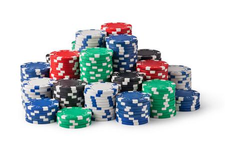 fichas casino: fichas de casino aislados en blanco Foto de archivo