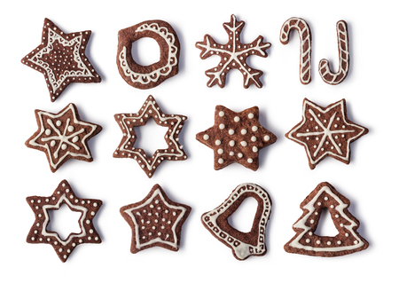 chocolate cakes: Christmas Ginger and Honey cookies on isolated white background