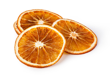 dried oranges isolated on white background Standard-Bild