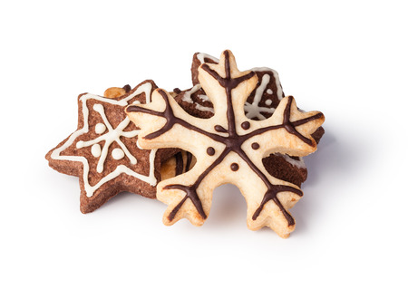 gingerbread cookie: Christmas cookies on a white background