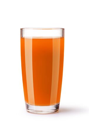 objects drink: glass of carrot juice on a white background