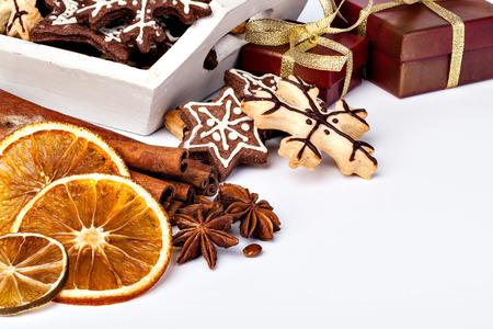 galletas de navidad: Galletas de Navidad en un fondo blanco